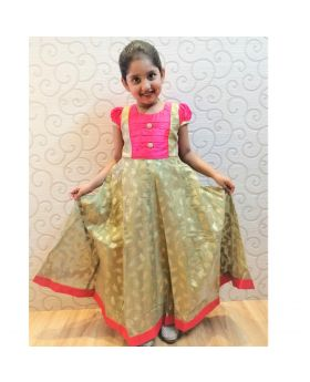 Girls new golden colur party gown