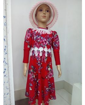 Girls red color winter party frock