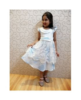 Girls Lt Blue Colur Cotton Party Frok