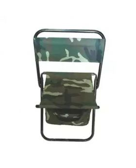 Woodland Camouflage Military Pattern Folding Chair with Back Pouch - Green