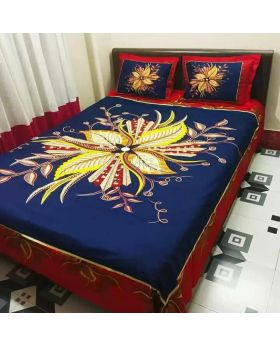 Double Size Cotton Bed Sheet with Matching 2pcs Pillow Covers - Multicolor-