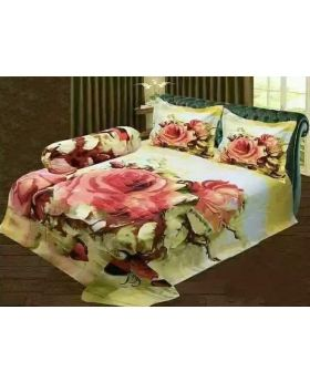 Double Size Cotton Bed Sheet- with Matching 2 pcs Pillow Covers