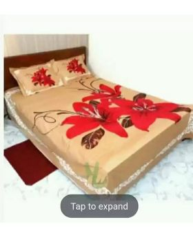 Double Size Cotton Bed Sheet with 2 pcs Pillow Covers