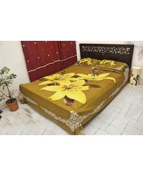 Double Size Cotton Bed Sheet -with Matching 2pcs Pillow Covers