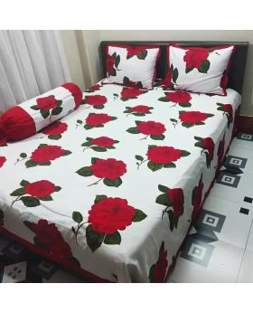 Double Size Cotton Bed Sheet ( Matching with 2 Pillow Covers)