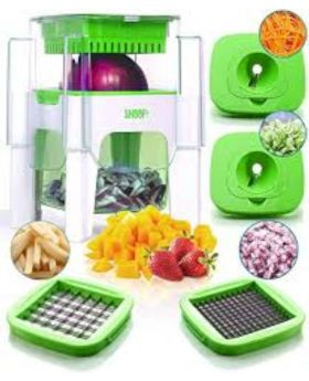 4 In 1 Vegetable Cutter and Chopper - Green and Red