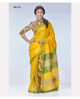 Yellow+Green Tangail Silk Saree for Women