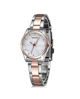 Silver and Golden Stainless Steel Analog Watch for Women