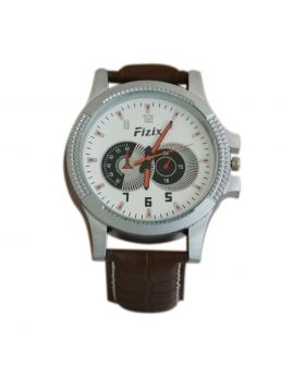 Fizix EW0010 Stainless Steel Chocolate Colored Leather  Belt Automated Mens Watch