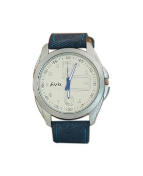 Fizix EW0023 Stainless Steel Blue Colored Leather  Belt Automated Mens Watch