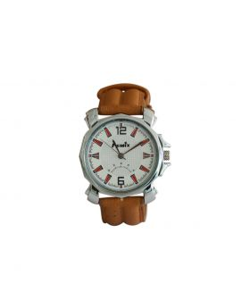 Femix EW0030 Stainless Still Brown Colored Leather  Belt Analog Mens Watch