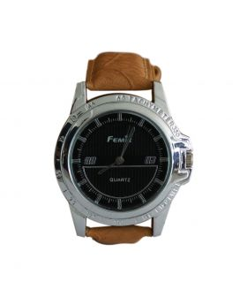 Femix EW0032 Stainless Still Silver Colored Leather  Belt Analog Mens Watch
