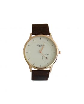 Koushi(D) EW0042 Stainless Steel Dark Brown Colored Leather  Belt Analog Mens Watch