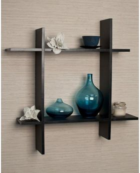 Malaysian wood Processed  Wall Hanging Shelf - Black