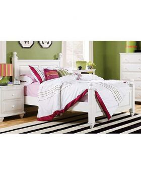 Malaysian White MDF Wood Bed - Lacquer Polish
