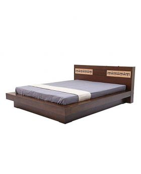 Canadian polish Oak Veneer Wood Bed - Lacquer Polish