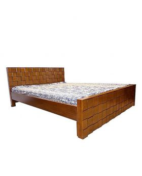 Canadian Oak Veneer Wood Bed - Lacquer Polish Bed