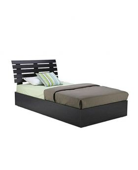 Malaysian MDF Wood full black Bed - Lacquer Polish