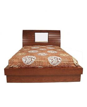 Canadian Oak Veneer polish Wood Bed - Lacquer Polish Wood Bed