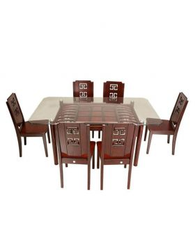 DI 112 - Canadian Processed Wood Slim Fit Dining Set with 6 Chair - Brown