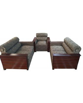 SA-389 - Box Design Wooden Sofa Set - Brown and Black