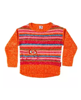 Orange Cotton Full Sleeve Sweater for Girls