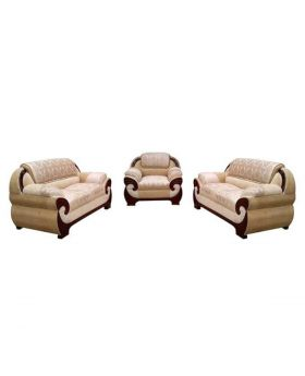 SA-339 - Wooden Sofa Set with Godi Design - Biscuit and Off-White