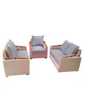 SA 166 - Malaysian Processed Wood Sofa Set - Biscuit and Ash