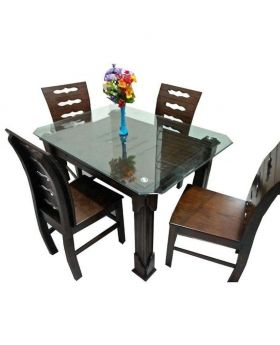 DI-48 - Oak Wood Dining Table With 4 Chair - Dark Chocolate