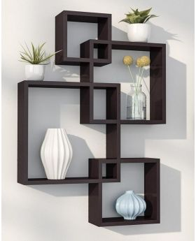 Malaysian 36 inch height Processed Wood Wall Hanging Shelf - Black