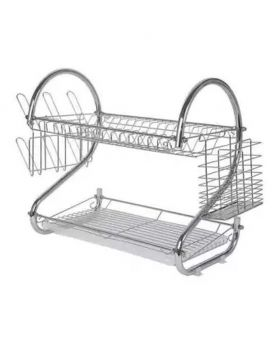 2 Layer Crockery Rack - Silver
