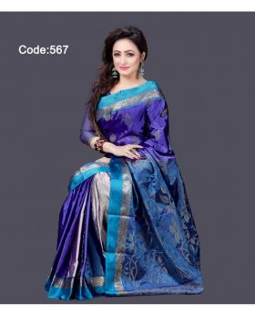 Soft Silk Saree for Women (Navy Blue-Sky Blue)