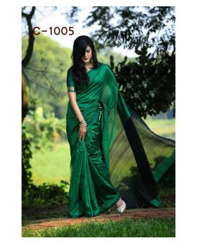Tangail Silk Saree for Women-Dark Green