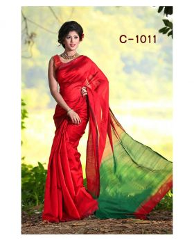 Tangail Silk Saree for Women (Red-Green)