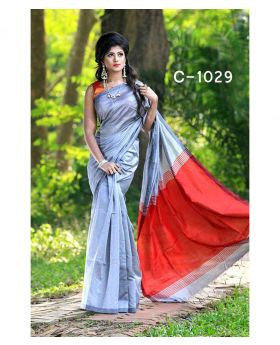 Tangail Silk Saree for Women (Silver-Red)