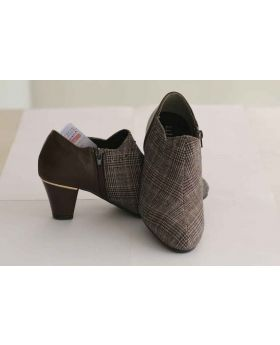Half Ankel Boot Brown Check