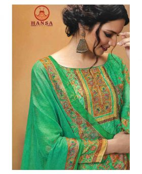 HANSA GEORGETT PRINT SALWAR KAMEEZ unstitched - Jungle Green