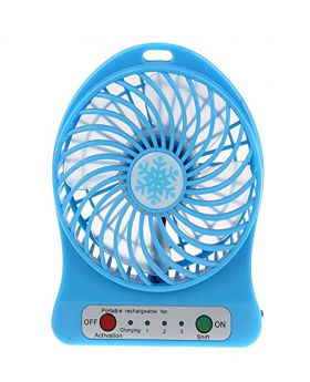 Universal Portable Lithium Battery Rechargeable Mini Desk USB Fan With Power Bank-Blue