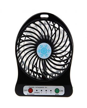Universal Portable Lithium Battery Rechargeable Mini Desk USB Fan With Power Bank-Black