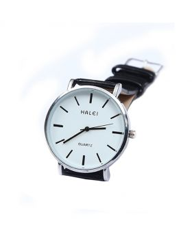 Halei Stainless Steel Leather Belt Analogue Watch For Men - HL02701-0038