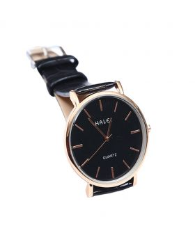 Halei Stainless Steel Leather Belt Analogue Watch For Men-HL02701-0040
