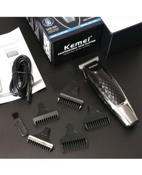 Kemei KM-730 Rechargeable Hair Clipper and Trimmer – Black and Red