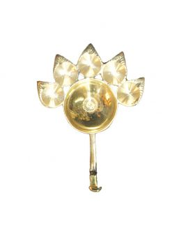 Pitol Boxo Paunch Diya Aarti for Home, Decoration Gift, Golden, 50 Gram, Pack of 1