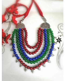 Red beads Necklace Gohona Set-N011
