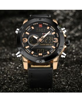 Naviforce NF9097 Dual Display Analog and Digital Casual Leather Watch-Black clour