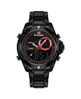 Naviforce NF9120 Dual Display Analog and Digital Stainless Steel Watch. Black Strap Color