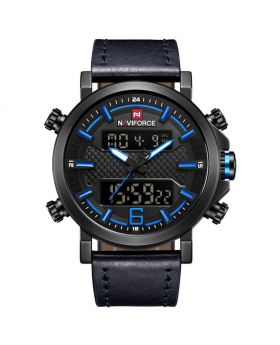 Naviforce NF9135 Dual Movement Digital and Quartz Casual Leather Watch,Black Strap Grey Dial and Hands