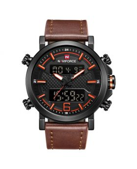 Naviforce NF9135 Dual Movement Digital and Quartz Casual Leather Watch-Brown Strap Brown Dial and Hands