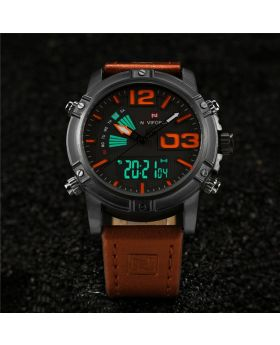 Naviforce 9095 Drak  Brown Luminous Faux Leather Strap Analog Digital Watch