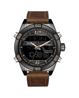 NAVIFORCE 9132 Black Strap Black Case Men's Watches Sport Military Dual Display Leather Watch Round 3ATM Waterproof Multifunction Wristwatch Male Clock 1